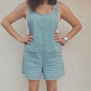 Moda intl vintage style mom jean shorts overalls